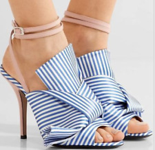 Fashion Womens Ankle Strappy High Heels Open Toe Striped Stilettos Sandals Shoes