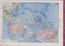 OCEANIA map and Island Scenes - 1930s French Map