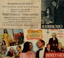 Programa de CINE. Título película: Matrimonio Imprevisto. PROA FILMS S.