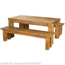 ( any size made) NEW SOLID WOODEN DINING TABLE WITH 2 BENCHES RUSTIC PLANK PINE