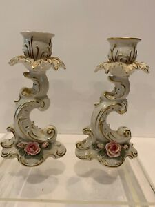"Beautiful Pair of ALKA Kaiser Dresden Germany Candle Holders 6"" Tall"