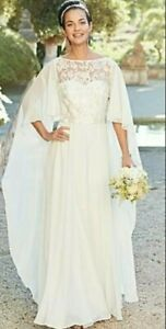 BNWT Joanna Hope Lace Beaded Chiffon Cape Bridal Wedding Dress Ivory Size UK  12