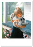 NEW! Kids Lovely  Girl Pet Dog Animals ART Russian new modern cards Postcard