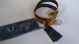 Genuine ARMANI JEANS Women's Belt Yellow Snake Skin Pattern RRP £109