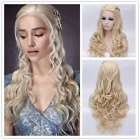 Game of Thrones Daenerys Targaryen Blonde Gold Fluffy Long Synthetic Cosplay Wig