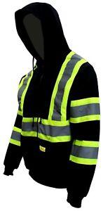 High Visibility Class 3 Hi-Vis Sweatshirt Full Zip Hooded Black Bottom-H9013