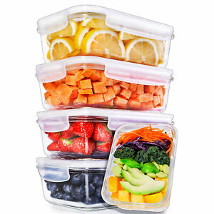 Igluu Glass Meal Prep Containers + Air Vent & Extra Lid [5 Pc] Food Storage Box