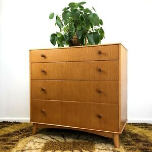 Mid Century Figured Lacewood Chest Of Drawers Chatoyancy Gimson Slater Vesper