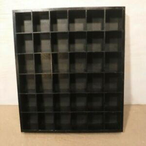 36 Space Wooden Black Trinket Shadow Box Hanging Display Shelf Case Open Front