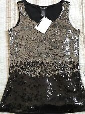 Doncaster Ombre Sequin Sleeveless Top Black Silver $195 Gorgeous! Size S