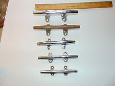 """LOT of 5 Vintage Chrome Brass Boat Cleats 6"""" 7"""" 8"""""""