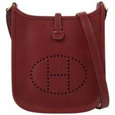 """HERMES """"Evelyne I"""" 2004 Rouge Clemence Leather Perforated Logo Shoulder Bag TPM"""