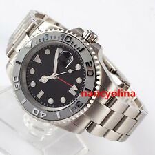 40mm Parnis gray bezel silver number Sapphire Glass GMT Automatic Date Watch D3
