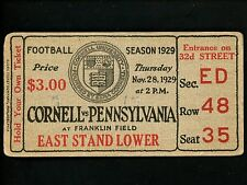 College Football Ticket 1929 Cornell vs. Pennsylvania Franklin Field PA Vintage