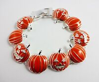Halloween Bracelet Pumpkins Fall Jack O'Lanterns Magnetic Clasp Icon Collection