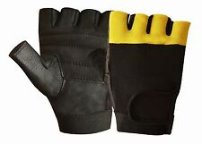 Leather Padded Men's Weight Lifting Training Cycle Wheelchair Black/Yellow Glove