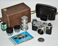 "SUPER SET! USSR ""KIEV-4AM"" CAMERA + HELIOS-103+ JUPITER-11+ JUPITER-12 (SET №5)"