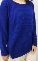 LAFAYETTE 148 Women's Sweater Blue Modal Wool Blend Pullover Ribbed Front Size L