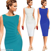 Women Elegant Celeb Ruched Pencil Dress Solid Sleveless Sheath MIDI Dress M-4XL