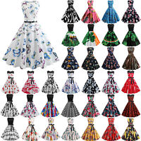 Womens Ladies Retro Rockabilly Swing Dress 1950s 60s Vintage Party Pinup Dresses
