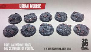 Urban Wubble 10 x 25mm round bevel resin bases