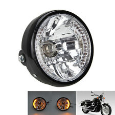 "7"" inch Motorcycle Headlight Amber LED Turn Signal Light For Harley Cafe Racer"