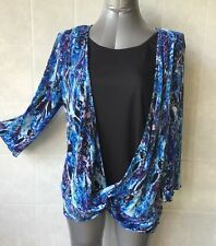 Millers Blue & White,Twist Front, Front Black Insert, 3/4 Sleeves, Plus Size 18