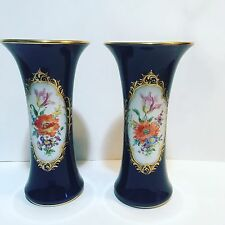 "PAIR 9.5"" Meissen Cobalt Vases  Handpainted Flowers And Gilt"