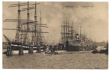 SAILING SHIPS AT PORT ON SEGELSCHIFFHAFEN RIVER,HAMBURG,GERMANY VINTAGE POSTCARD