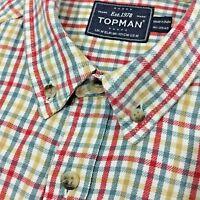 "Mens Short Sleeve Shirt TOPMAN Size M 16"" 41cm RED BLUE Check Cotton Twill"