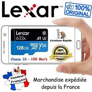 LEXAR Carte Mémoire MicroSD 128 Go 633x UHS-I U3 V30 4K CLASS 10 + Adaptateur SD