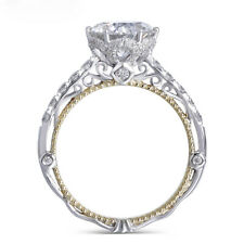 14K White and Yellow Gold F Color Moissanite Diamond Vintage Engagement Ring