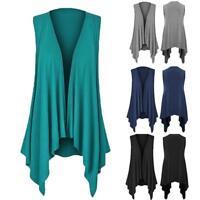 Womens Casuasl Solid Sleeveless Draped Irregular Hem Open Cardigan Top Blouse