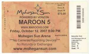Rare MAROON 5 10/12/07 Mohegan Sun Casino BIG Concert Ticket!