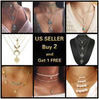 Boho Women Multi-layer Gold Silver Chain Pendant Crystal Choker Necklace Jewelry