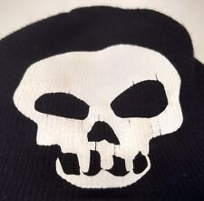 Black Knit Cap with White Skull 8.5 in. x 7.75 in.