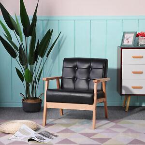 1 x Lounge Sessel Polstersessel Retro Stuhl mit Massivholz-Struktur Relaxsessel