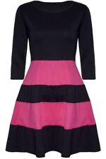 Party 3/4 Sleeve Skater Striped Dresses for Women