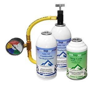 Car AC Aircon Air Con Large Top Up Leak Stopper Sealer Refill Regas DIY Kit