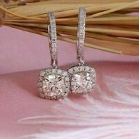 2.50Ct Round Cut Real Moissanite Halo Drop Dangle Earring 14k White Gold Over