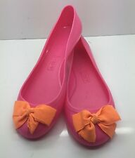 J. CREW Pink Rubber w/ Orange Ribbon Bow Slip-On Ballet Flats 8M NEW NEVER WORN!