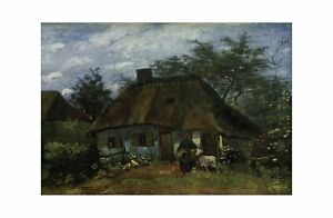 Vincent Van Gogh - Farmhouse with woman and goat July 1885 Print 61x91.5cm