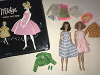 Vintage 1963 Mattel MIDGE Barbie's Best Friend DOLLS & Clothing Black Case LOT