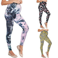 Womens High Waist Floral Slim Fit Skinny Maternity Long Pants Pregnancy Trousers