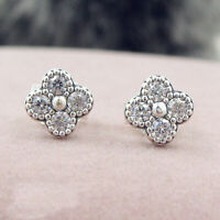 Authentic 100% 925 Sterling Silver Oriental Blossom Clear CZ Stud Earrings