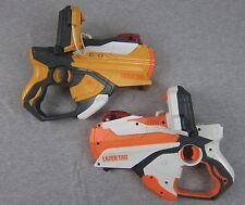 Lot of 2 Hasbro Laser Tag 2012 Gun Blaster Game Iphone ipod dock Orange White