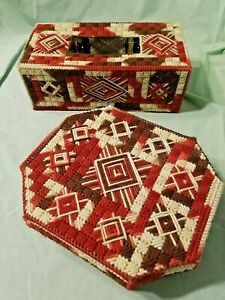 BROWN NEEDLEPOINT TISSUE COVER & OCTAGONAL BOX JEWEL CASE RUSTIC COTTAGE