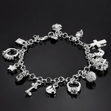 925 Silver Plated Bangle 13 Charms Pedents Bracelet New Jewelry Wrist Band