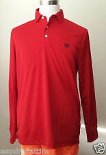 CHAPS men size M long sleeve red color polo style shirt Golf