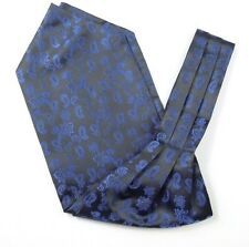 Men Vintage Wedding Formal Cravat Ascot Scrunch Self Neck Tie Blue Black Paisley